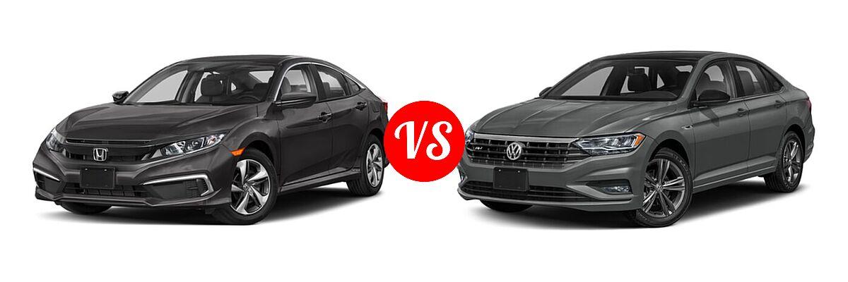 2021 Honda Civic Sedan LX vs. 2021 Volkswagen Jetta Sedan R-Line - Front Left Comparison