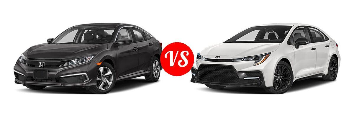 2021 Honda Civic Sedan LX vs. 2021 Toyota Corolla Sedan Nightshade - Front Left Comparison