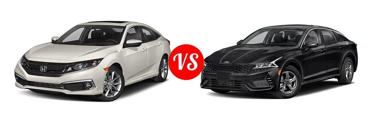2021 Honda Civic Sedan EX vs. 2021 Kia K5 Sedan GT / LX / LXS - Front Left Comparison