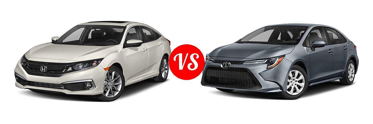2021 Honda Civic Sedan EX vs. 2021 Toyota Corolla Sedan L / LE - Front Left Comparison