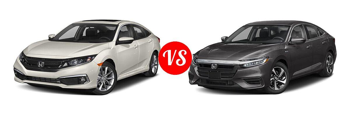 2021 Honda Civic Sedan EX vs. 2021 Honda Insight Sedan Hybrid EX - Front Left Comparison