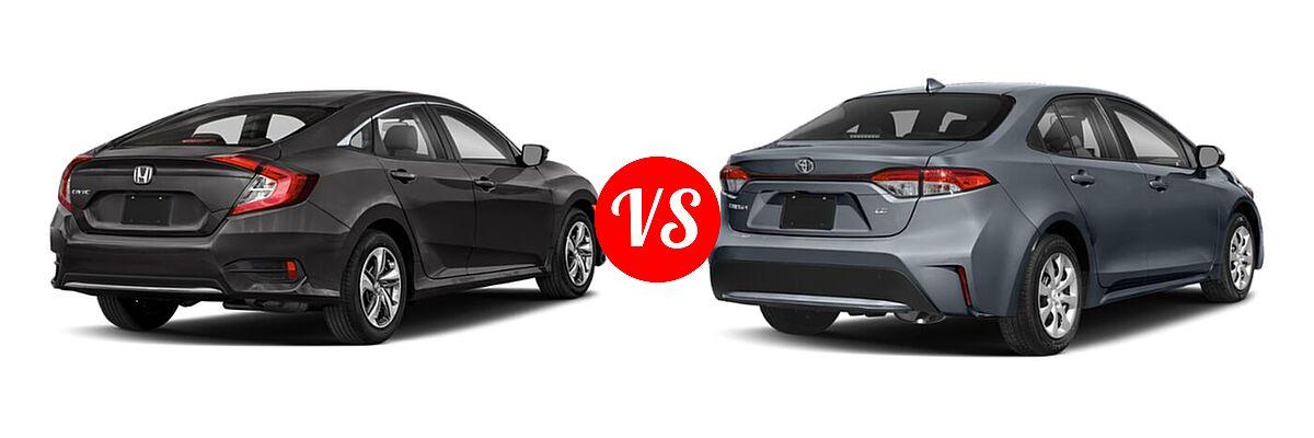 2021 Honda Civic Sedan LX vs. 2021 Toyota Corolla Sedan L / LE - Rear Right Comparison