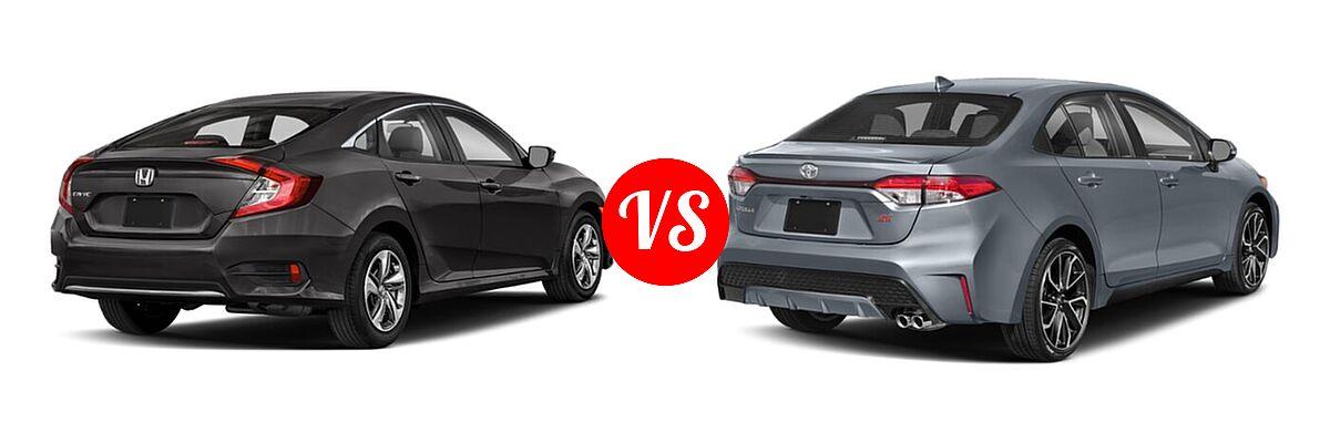 2021 Honda Civic Sedan LX vs. 2021 Toyota Corolla Sedan SE / XSE - Rear Right Comparison