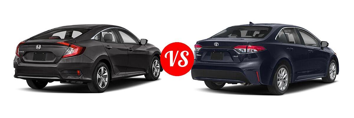 2021 Honda Civic Sedan LX vs. 2021 Toyota Corolla Sedan XLE - Rear Right Comparison