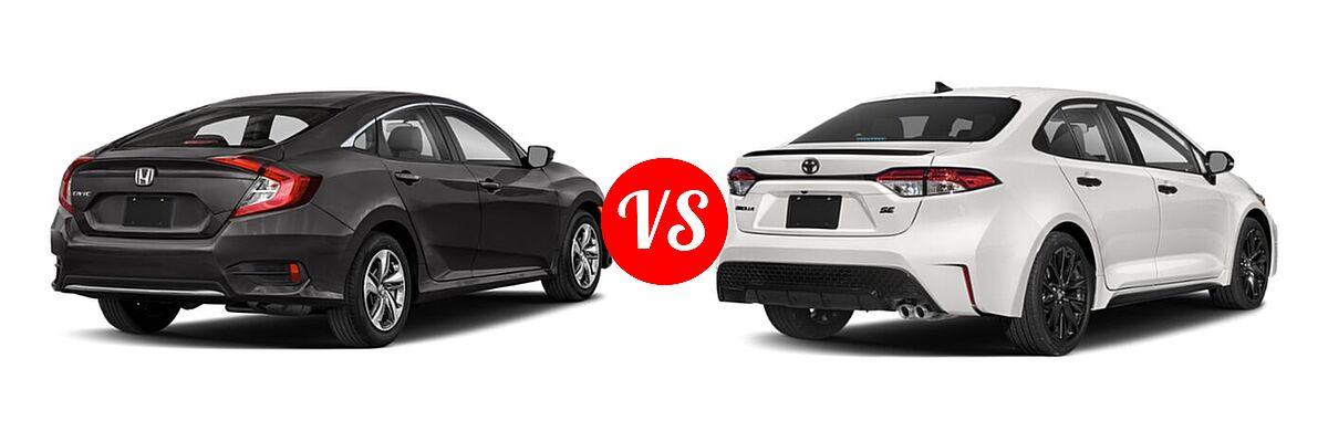 2021 Honda Civic Sedan LX vs. 2021 Toyota Corolla Sedan Nightshade - Rear Right Comparison