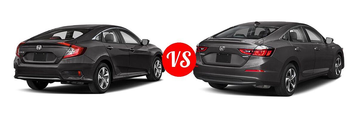 2021 Honda Civic Sedan LX vs. 2021 Honda Insight Sedan Hybrid EX - Rear Right Comparison