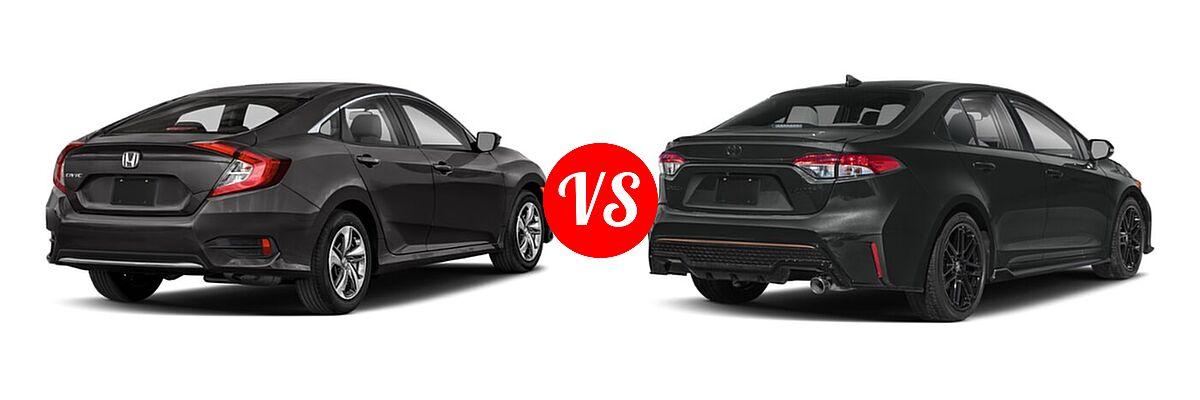 2021 Honda Civic Sedan LX vs. 2021 Toyota Corolla Sedan APEX SE - Rear Right Comparison