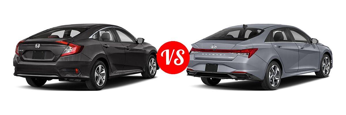 2021 Honda Civic Sedan LX vs. 2021 Hyundai Elantra Sedan N Line - Rear Right Comparison