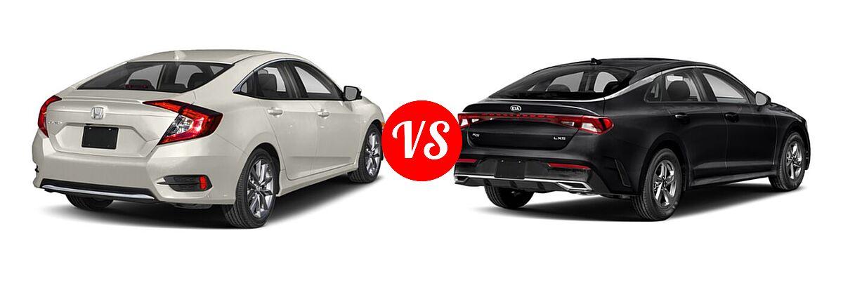 2021 Honda Civic Sedan EX vs. 2021 Kia K5 Sedan GT / LX / LXS - Rear Right Comparison