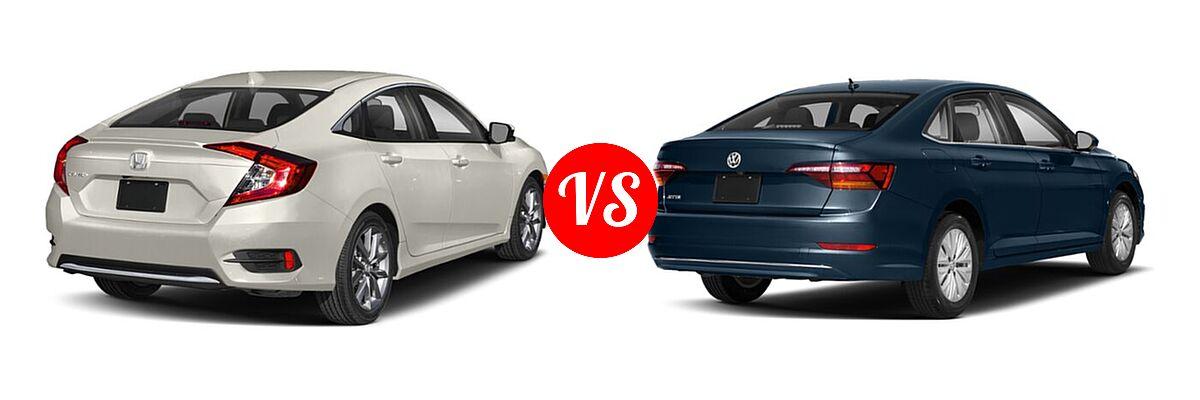 2021 Honda Civic Sedan EX vs. 2021 Volkswagen Jetta Sedan S / SE / SEL / SEL Premium - Rear Right Comparison