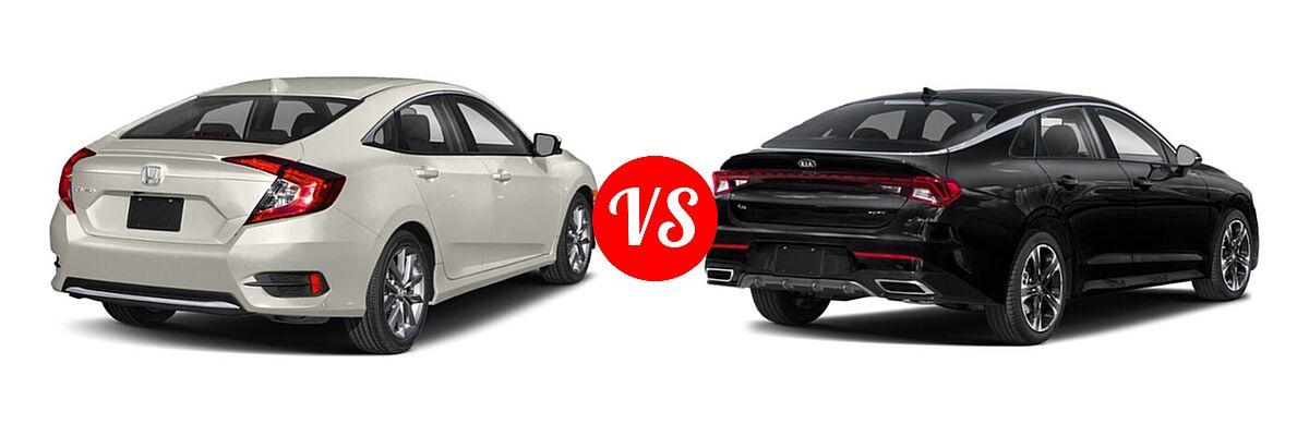 2021 Honda Civic Sedan EX vs. 2021 Kia K5 Sedan GT-Line - Rear Right Comparison