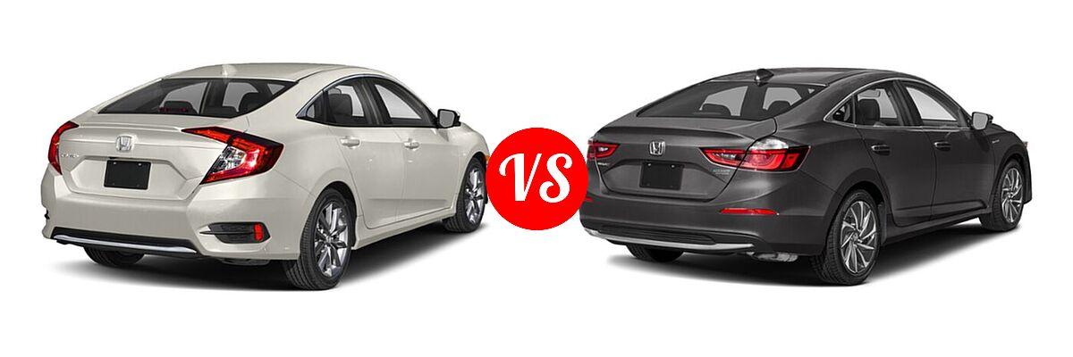 2021 Honda Civic Sedan EX vs. 2021 Honda Insight Sedan Hybrid Touring - Rear Right Comparison