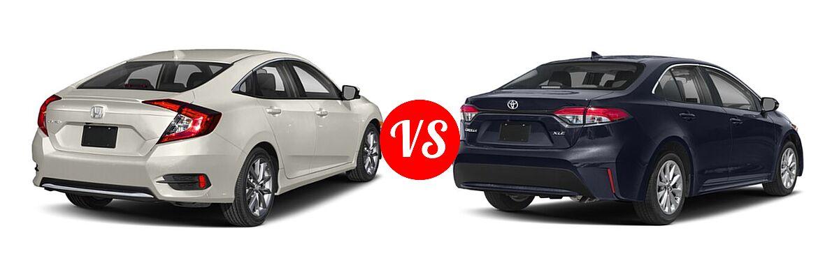 2021 Honda Civic Sedan EX vs. 2021 Toyota Corolla Sedan XLE - Rear Right Comparison