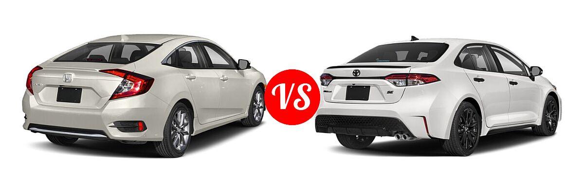 2021 Honda Civic Sedan EX vs. 2021 Toyota Corolla Sedan Nightshade - Rear Right Comparison