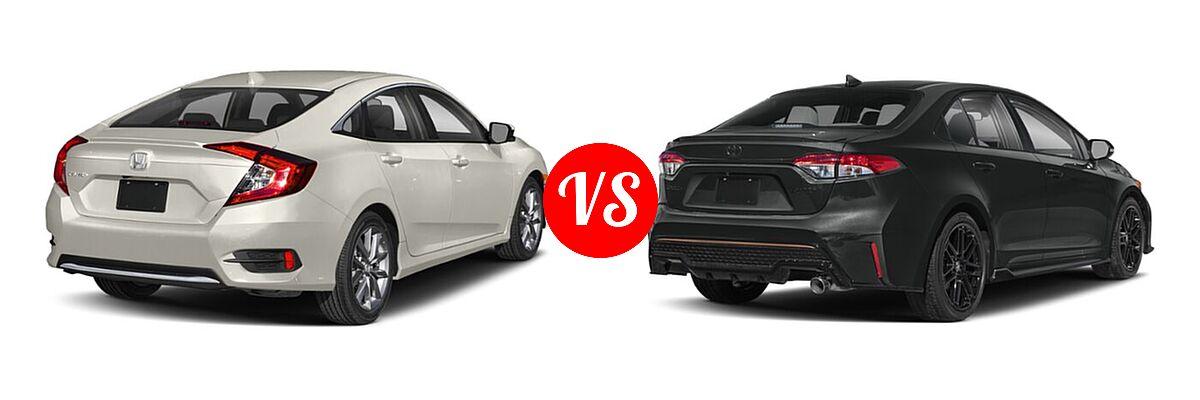2021 Honda Civic Sedan EX vs. 2021 Toyota Corolla Sedan APEX SE - Rear Right Comparison