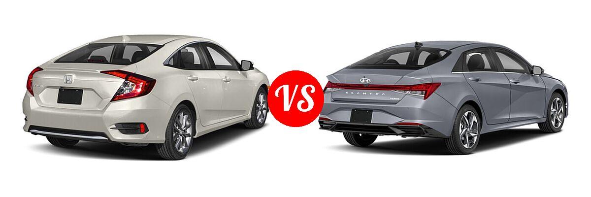 2021 Honda Civic Sedan EX vs. 2021 Hyundai Elantra Sedan N Line - Rear Right Comparison