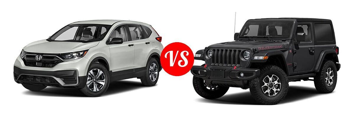 2021 Honda CR-V SUV LX vs. 2021 Jeep Wrangler SUV Rubicon - Front Left Comparison
