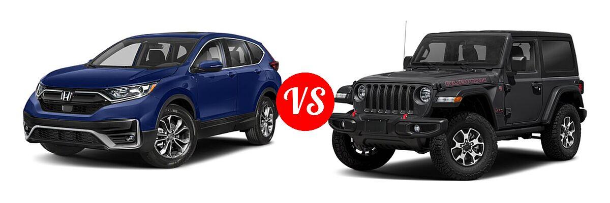 2021 Honda CR-V SUV EX vs. 2021 Jeep Wrangler SUV Rubicon - Front Left Comparison