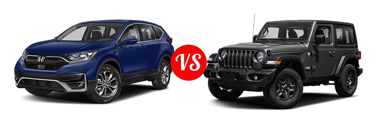 2021 Honda CR-V SUV EX vs. 2021 Jeep Wrangler SUV 80th Anniversary / Freedom / Islander / Sport / Sport S / Willys / Willys Sport - Front Left Comparison