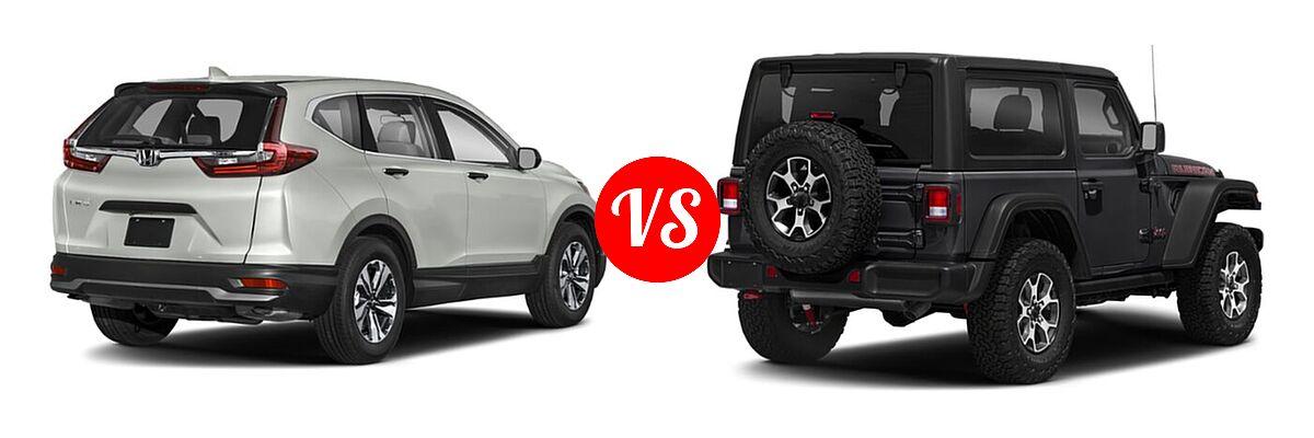 2021 Honda CR-V SUV LX vs. 2021 Jeep Wrangler SUV Rubicon - Rear Right Comparison