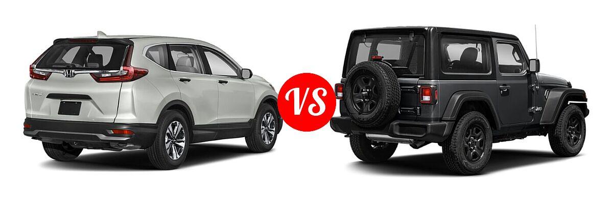 2021 Honda CR-V SUV LX vs. 2021 Jeep Wrangler SUV 80th Anniversary / Freedom / Islander / Sport / Sport S / Willys / Willys Sport - Rear Right Comparison