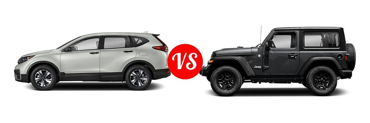 2021 Honda CR-V SUV LX vs. 2021 Jeep Wrangler SUV 80th Anniversary / Freedom / Islander / Sport / Sport S / Willys / Willys Sport - Side Comparison