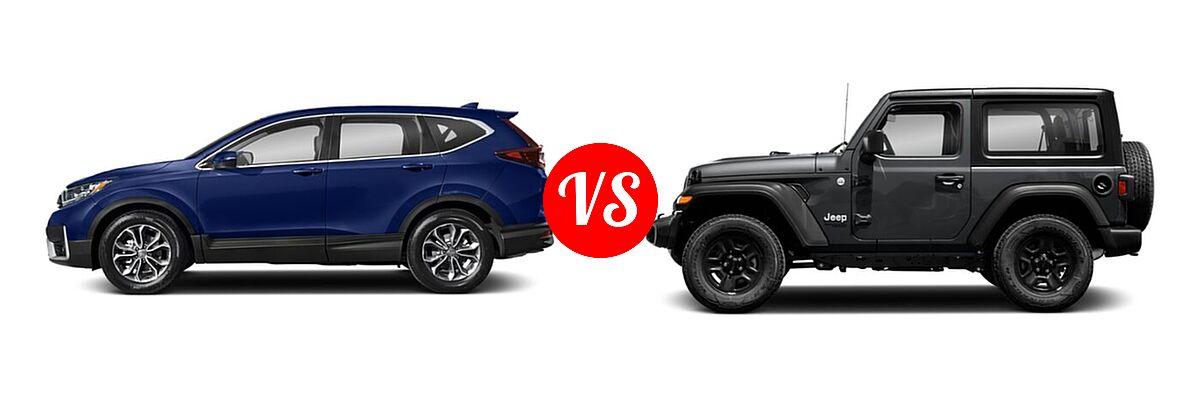 2021 Honda CR-V SUV EX vs. 2021 Jeep Wrangler SUV 80th Anniversary / Freedom / Islander / Sport / Sport S / Willys / Willys Sport - Side Comparison