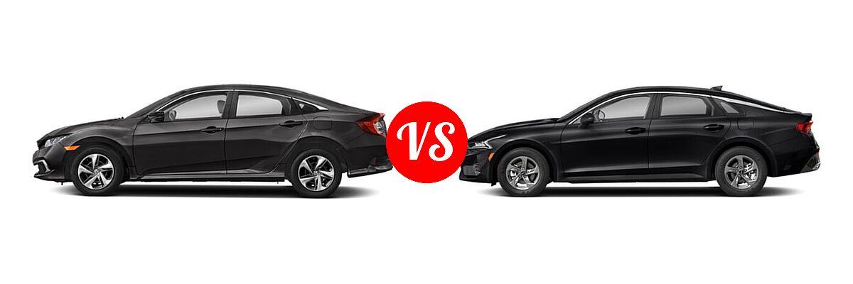 2021 Honda Civic Sedan LX vs. 2021 Kia K5 Sedan GT / LX / LXS - Side Comparison
