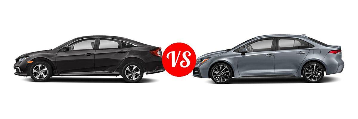 2021 Honda Civic Sedan LX vs. 2021 Toyota Corolla Sedan SE / XSE - Side Comparison