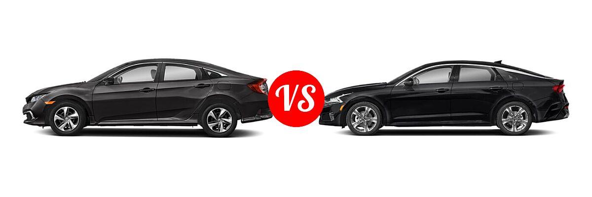 2021 Honda Civic Sedan LX vs. 2021 Kia K5 Sedan EX - Side Comparison