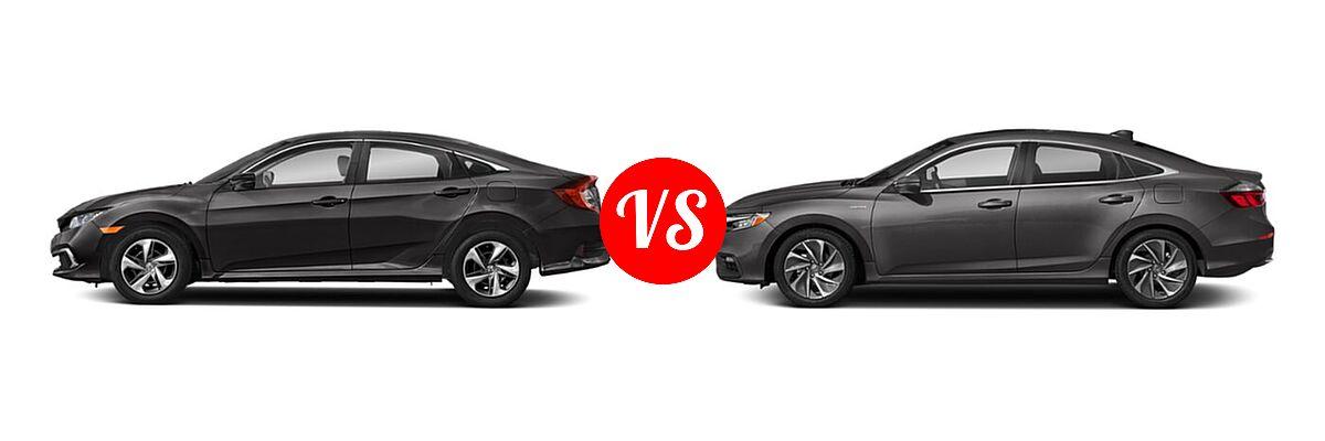 2021 Honda Civic Sedan LX vs. 2021 Honda Insight Sedan Hybrid Touring - Side Comparison