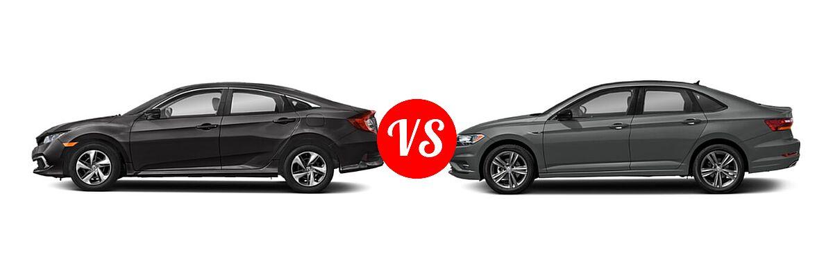 2021 Honda Civic Sedan LX vs. 2021 Volkswagen Jetta Sedan R-Line - Side Comparison
