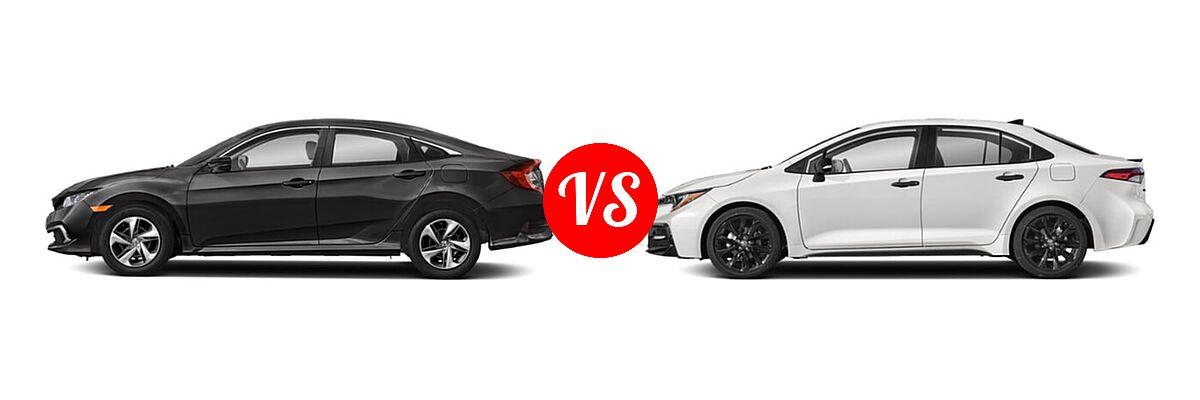 2021 Honda Civic Sedan LX vs. 2021 Toyota Corolla Sedan Nightshade - Side Comparison