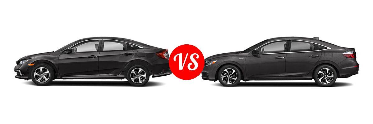 2021 Honda Civic Sedan LX vs. 2021 Honda Insight Sedan Hybrid EX - Side Comparison