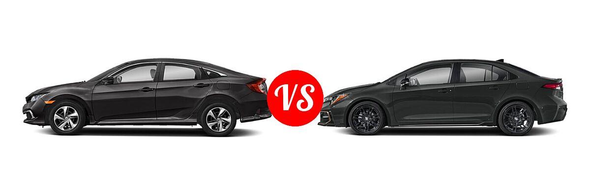 2021 Honda Civic Sedan LX vs. 2021 Toyota Corolla Sedan APEX SE - Side Comparison