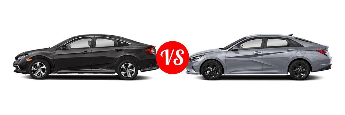 2021 Honda Civic Sedan LX vs. 2021 Hyundai Elantra Sedan  - Side Comparison