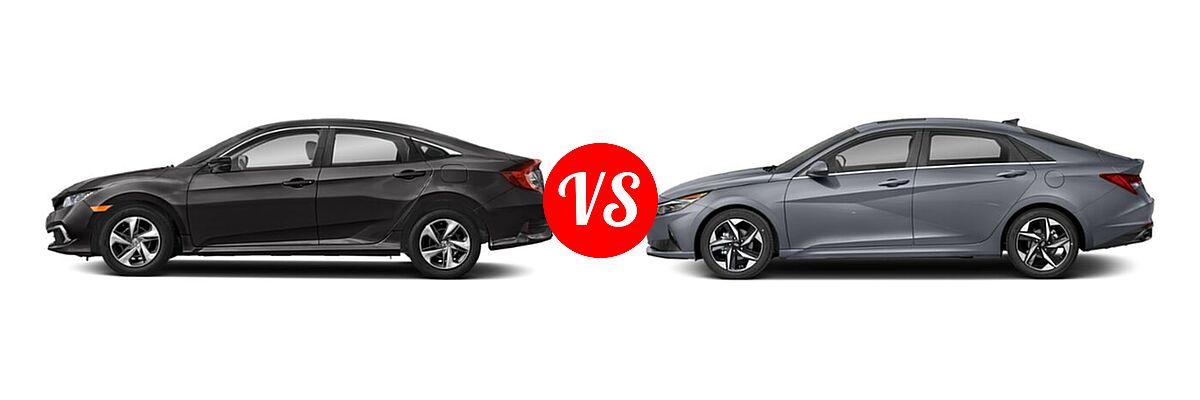 2021 Honda Civic Sedan LX vs. 2021 Hyundai Elantra Sedan N Line - Side Comparison