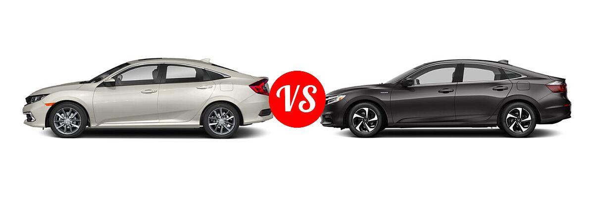 2021 Honda Civic Sedan EX vs. 2021 Honda Insight Sedan Hybrid LX - Side Comparison