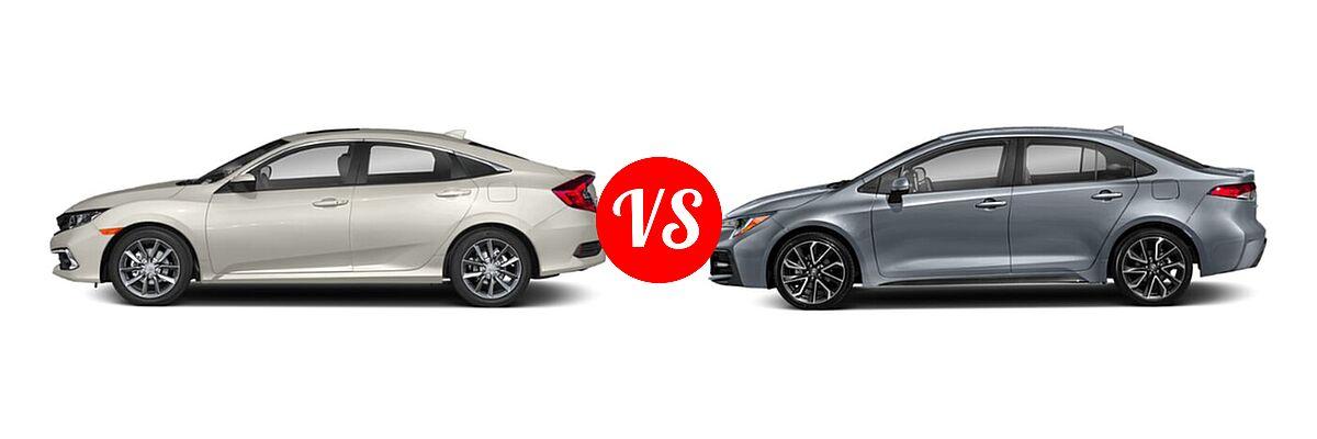 2021 Honda Civic Sedan EX vs. 2021 Toyota Corolla Sedan SE / XSE - Side Comparison