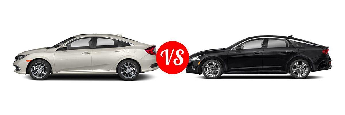 2021 Honda Civic Sedan EX vs. 2021 Kia K5 Sedan EX - Side Comparison
