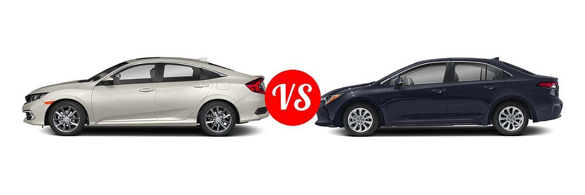2021 Honda Civic Sedan EX vs. 2021 Toyota Corolla Sedan XLE - Side Comparison