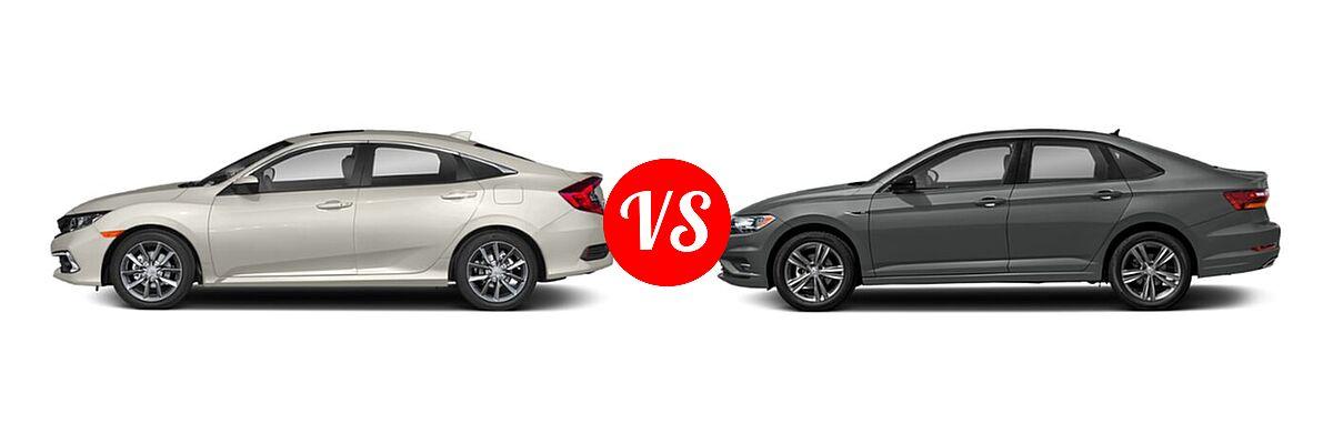 2021 Honda Civic Sedan EX vs. 2021 Volkswagen Jetta Sedan R-Line - Side Comparison