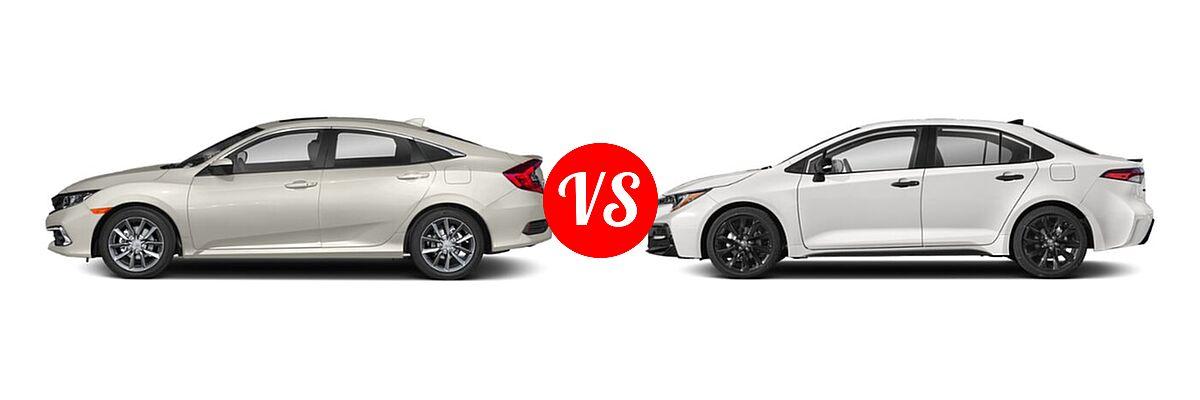 2021 Honda Civic Sedan EX vs. 2021 Toyota Corolla Sedan Nightshade - Side Comparison