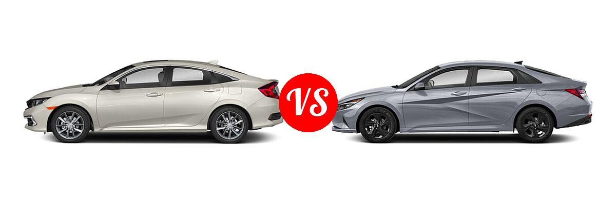 2021 Honda Civic Sedan EX vs. 2021 Hyundai Elantra Sedan  - Side Comparison