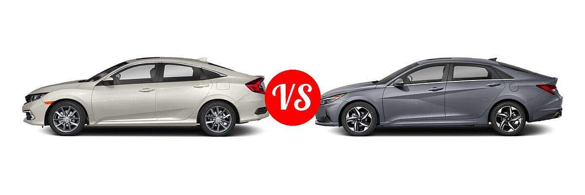 2021 Honda Civic Sedan EX vs. 2021 Hyundai Elantra Sedan N Line - Side Comparison