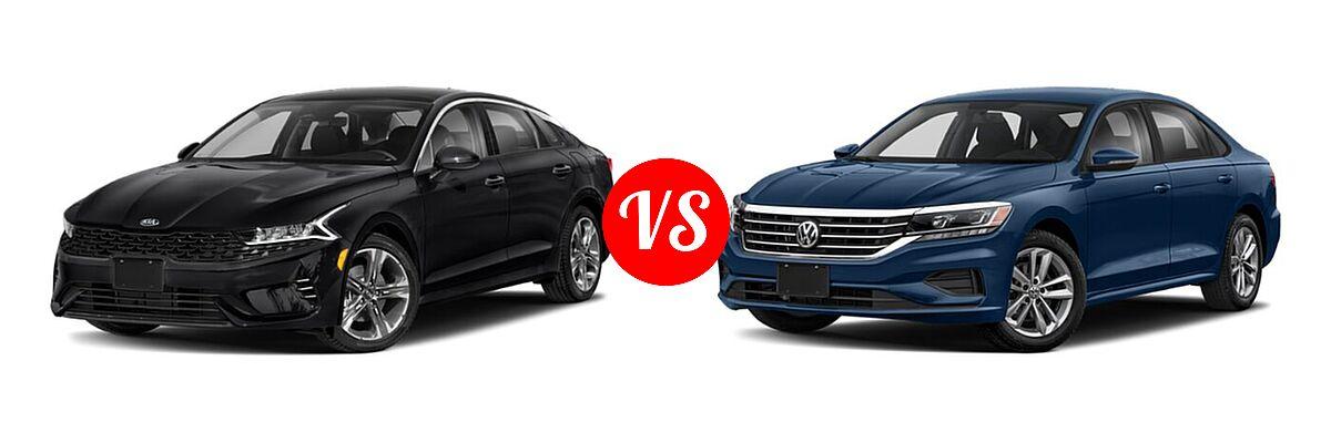 2021 Kia K5 Sedan EX vs. 2021 Volkswagen Passat Sedan 2.0T S / 2.0T SE - Front Left Comparison
