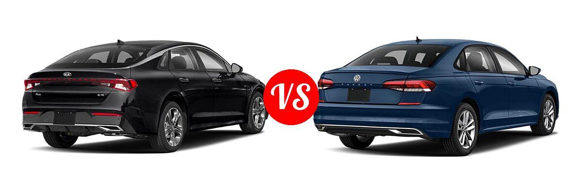 2021 Kia K5 Sedan EX vs. 2021 Volkswagen Passat Sedan 2.0T R-Line - Rear Right Comparison