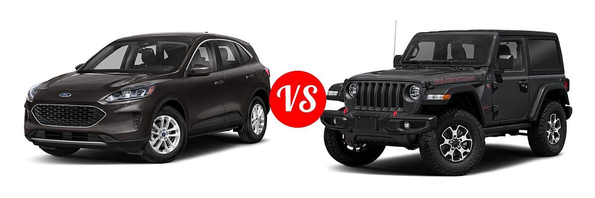 2021 Ford Escape SUV S / SE vs. 2021 Jeep Wrangler SUV Rubicon - Front Left Comparison