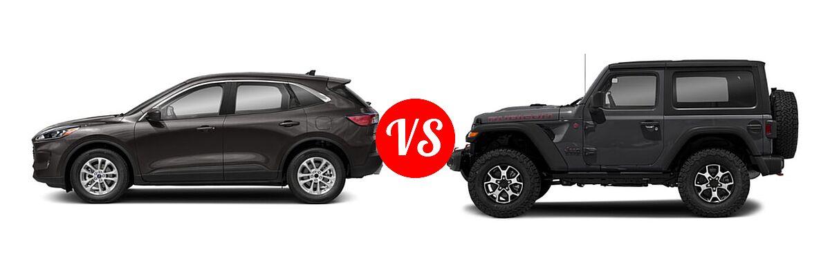 2021 Ford Escape SUV S / SE vs. 2021 Jeep Wrangler SUV Rubicon - Side Comparison