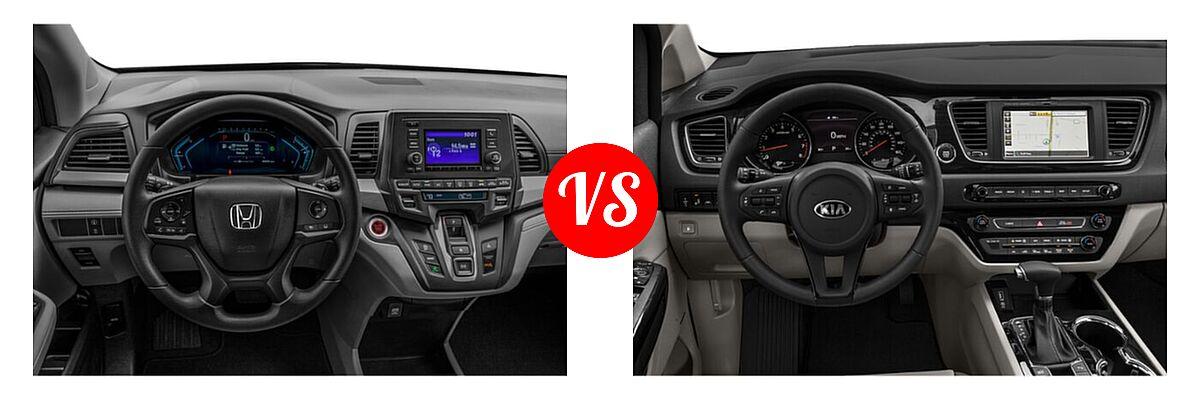 2021 Honda Odyssey Minivan LX vs. 2021 Kia Sedona Minivan SX - Dashboard Comparison